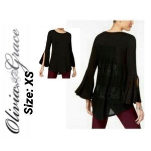 Black High-low Lace-back Top Flare Sleeves NWT XS